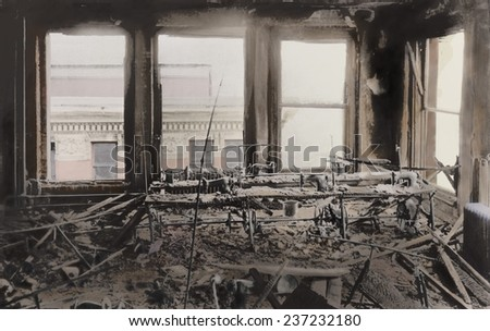 Triangle Shirtwaist Factory interior gutted by the fire that killed 146 women workers on March 25,1911, 2011 photo illustration with digital color. - stock photo