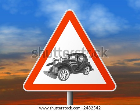 Triangle sign with vintage car, sunset on background
