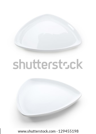Triangle White Plate over White Background - stock photo