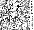 triangles pattern, b&w, crumpled aluminum, broken glass - stock vector