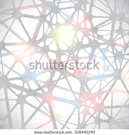 Triangular abstract black and white lined 3D illustration, digital lattice messy technology object background. raster - stock photo