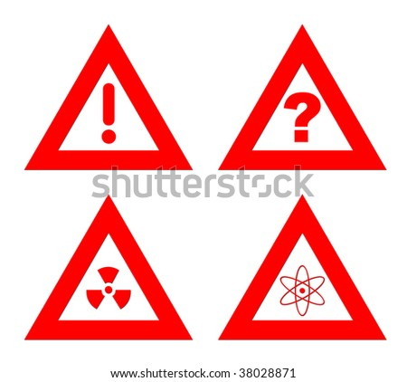 Triangular red hazard warning signs isolated on white background.