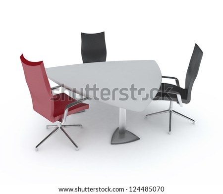 Triangular table and chairs. An empty meeting room and conference table - stock photo