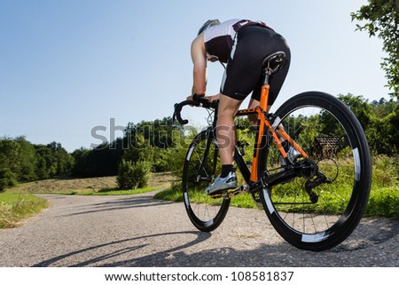 triathlete on a bicycle in time trial