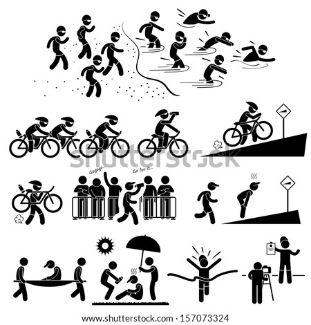 Triathlon Marathon Swimming Cycling Sports Running Stick Figure Pictogram Icon Symbol - stock photo