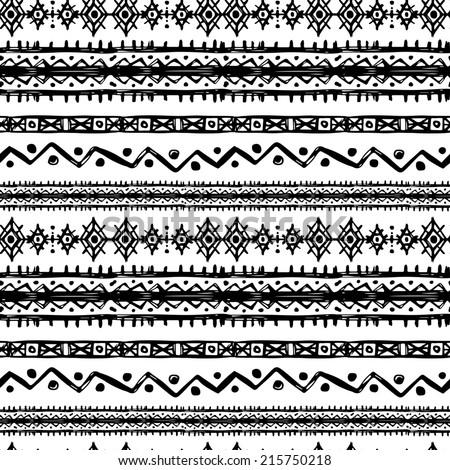 Tribal art ethnic seamless pattern. Folk abstract geometric repeating background texture. Fabric design. Wallpaper - raster version - stock photo