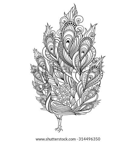 Tribal Decorative Peacock. Isolated Bird On White Background. Zentangle Style - stock photo