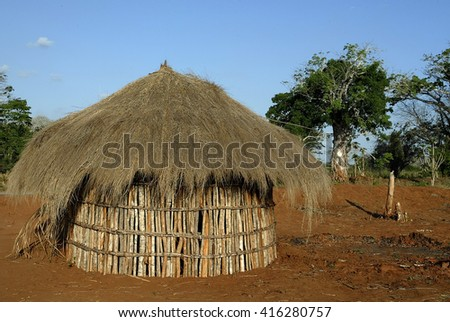tribal hut in a village in Mozambique