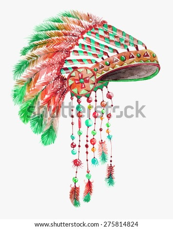Tribal indian hat, watercolor background for beautiful design - stock photo