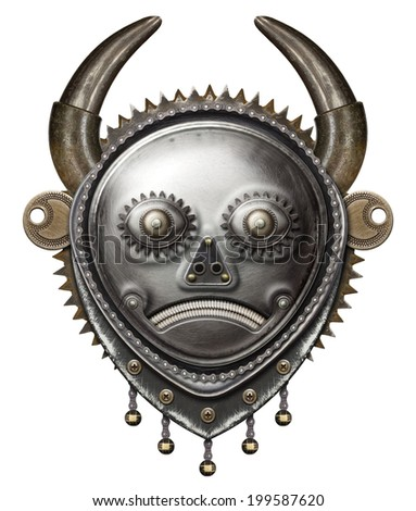 Tribal mask. Metal collage. - stock photo