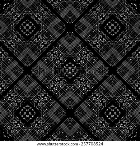 Tribal or ethnic style abstract  digital technique artwork with geometric shapes motif pattern in black and white colors.