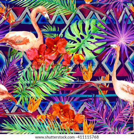 Tribal pattern, tropical leaves and flamingo birds. Exotic orchids and bird of paradise flowers. Seamless ethnic pattern. Watercolor