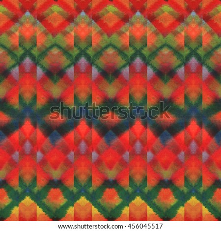 Tribal pattern. Watercolor ethnic pattern. Colorful geometric effect background.