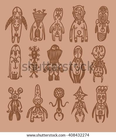 Tribal people. ethnic illustration set. - stock photo