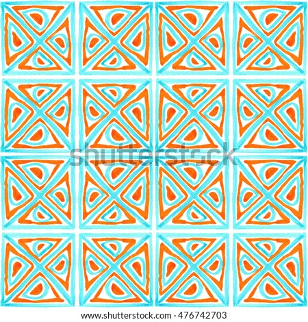 Tribal seamless colorful geometric pattern. Striped hand painted Aztec seamless pattern with ethnic and tribal motifs. Watercolor. Ethnic background.