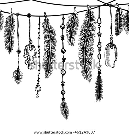 Tribal theme background with hand drawn feathers and ethnic elements. Lineart. Elements in native style for greeting card and postcard, henna and tattoo design.