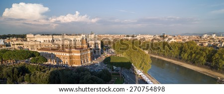 Tribunale di Sorveglianza, Palace of Justice and Tiber river. Aerial panoramic view from the Mausoleum of Hadrian, usually known as Castle of the Holy Angel (Castel Sant'Angelo). Rome, Italy. - stock photo