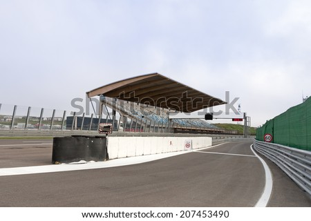 tribune on racetrack - stock photo