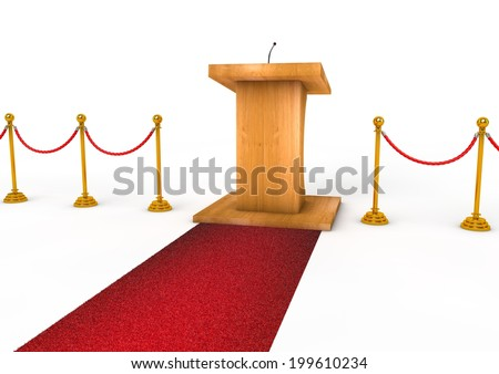 Tribune or Podium for sermons on white background with microphone - stock photo