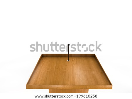 Tribune / Podium / Rostrum for sermons, public speech, conference, elections and others, on a white background with frontal view (first person) - stock photo