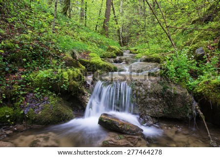Tributary stream of the Leitzach river with small waterfall and fresh green leaves, Bavaria, Germany - stock photo