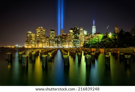 Tribute in Light. Downtown New York City - stock photo