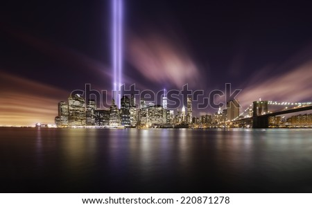 Tributes lights over the skyline of Manhattan, New York on Memorial day 9-11-2014 - stock photo