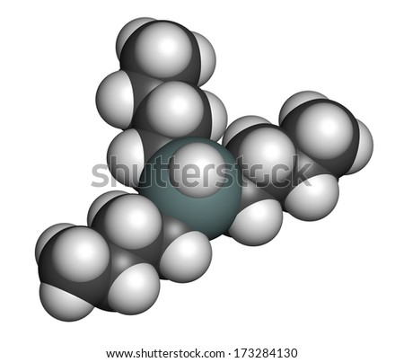 Tributyltin hydride molecule. Organotin reagent, used in organic synthesis. Atoms are represented as spheres with conventional color coding: hydrogen (white), carbon (grey), tin (grey-blue). - stock photo