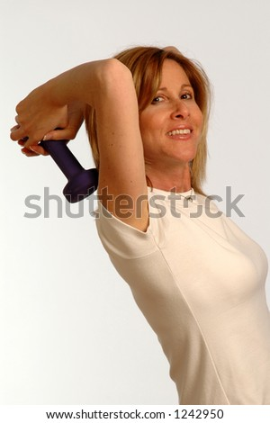 triceps exercise with dumbbells - stock photo