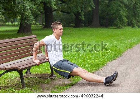 triceps practice on bench outdoor