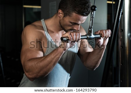 Triceps Pull down Workout. Fit Man On The Triceps Pulldown Weight Machine At A Health Club - stock photo