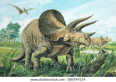 triceratops a plant eater the largest of the horned dinosaurs about 20