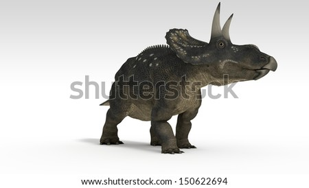 triceratops (diceratops) isolated on white - stock photo