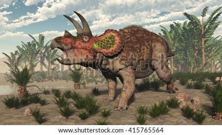 Triceratops dinosaur - 3D render - stock photo
