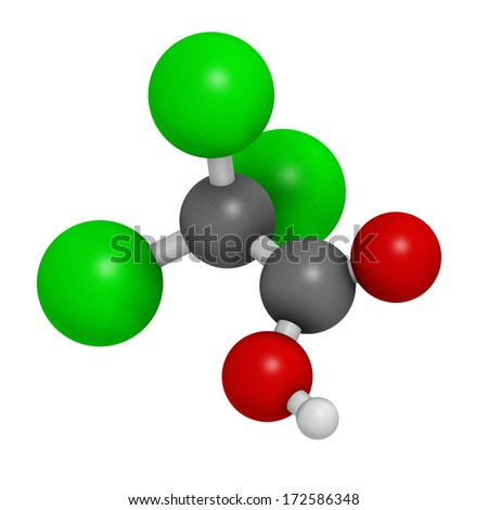 Trichloroacetic acid (TCA) molecule. Used in dermatological treatment of warts and related skin conditions. Atoms are represented as spheres with conventional color coding: hydrogen (white), etc