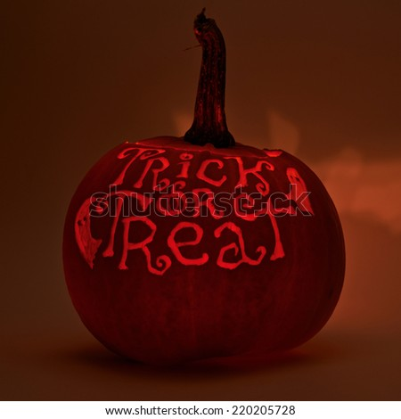 Trick or treat words carved on Jack-o'-lanterns orange halloween pumpkin with the light glowing from the inside, dark low-key composition - stock photo