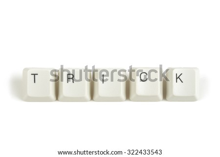 trick text from scattered keyboard keys isolated on white background