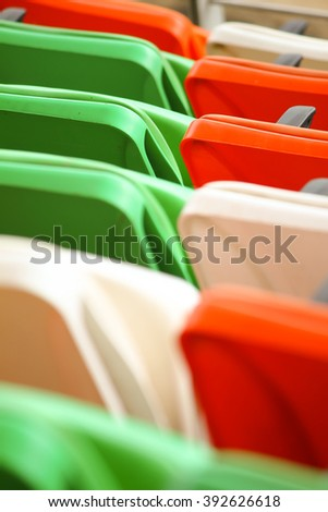 Tricolor chairs in the stadium during Independence day celebration