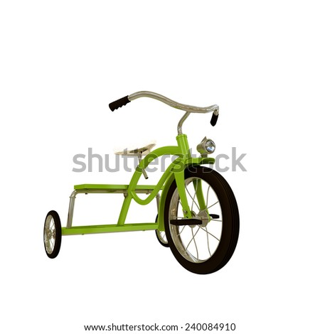 tricycle isolated on white background - stock photo