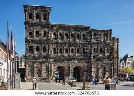 Trier, Germany, April 21, 2015: The Porta Nigra  is a large Roman city gate in Trier, Germany