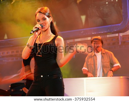 TRIESTE/ITALY - CIRCA JUNE 2006: Popstar Rihanna during one of her first appearances, performing the song SOS at Festivalbar television show in italy - stock photo