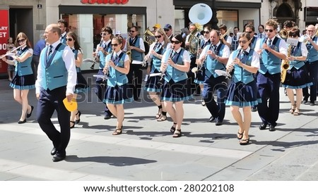 "TRIESTE, ITALY - JUN 24, 2012: Street performance of the Slovenian brass band Pihalni Orkester Marezige during the ""Bande in Festa"" festival."