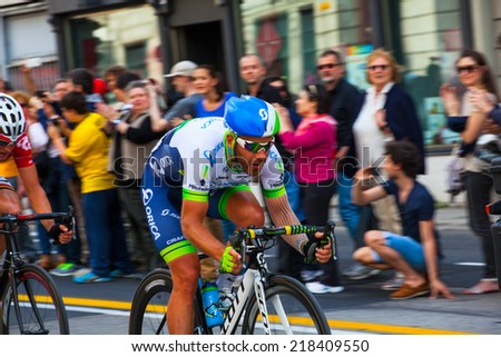 TRIESTE, ITALY -  JUNE, 01: Cyclist during the final parade of 97th edition of the Giro d'Italia on June 01, 2014 - stock photo
