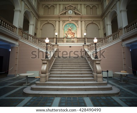 TRIESTE, ITALY - MAY, 04: Interior of Postal and Telegraphic Museum of Central Europe on May 04, 2016 - stock photo