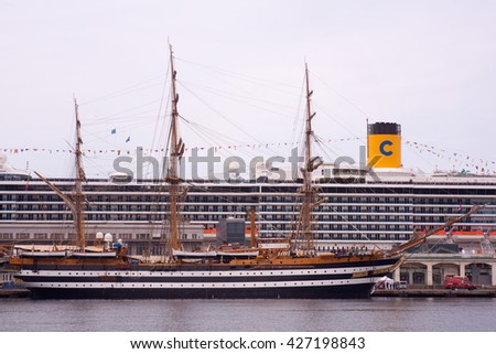 TRIESTE, ITALY - MAY, 15: The Amerigo Vespucci is a tall ship of the Italy navy, named after the explorer Amerigo Vespucci on May 15, 2016