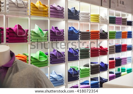 TRIESTE, ITALY - MAY, 01: View of colorful sweater in the clothes shop on May 01, 2016 - stock photo