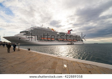 TRIESTE, ITALY - MAY, 01: View of the newest carnival cruise ship docked in Trieste on May 01 2016