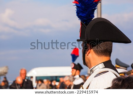 TRIESTE, ITALY - NOVEMBER, 04: Carabinieri, Italian policemen with feather plumed bicorne hat on November 04, 2014 - stock photo