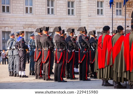 TRIESTE, ITALY - NOVEMBER, 04: Celebrations for the 4th of November, National Unification and Armed Forces�¢?? Day, on November 04, 2014 - stock photo