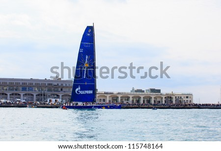 TRIESTE, ITALY - OCTOBER 12: Esimit Europa 2 boat winner of the Barcolana regatta in Trieste sea. About 2000 boats from all over the world took part in the race on October 14, 2012 in Trieste, Italy.